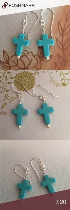 """Bohemian Turquoise Howlite Cross Earrings Beautiful Turquoise Howlite Carved Cross with Sterling Silver bead and Earwires🌟 1 1/2"""" to top of Earwires. Includes rubber safety backs Jewelry Earrings"""