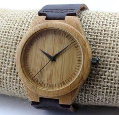 Minimalist Wood Watch, Wooden Watch, Wood Watch, Bamboo Watch, Personalized, Leather Strap, Engraved Watch, Womens Watch, Mens Watch