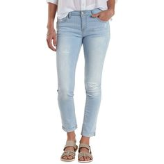 Charlotte Russe Lt Wash Denim Skinny Roll-Up Light Wash Jeans by... ($30) ❤ liked on Polyvore