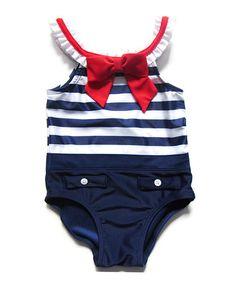 Look at this #zulilyfind! Navy Sailor Girl One-Piece - Infant, Toddler & Girls by Sol Swim #zulilyfinds