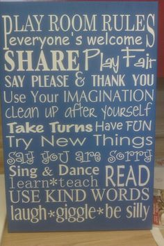 Play Room Rules Subway style sign by vinylupyourspace on Etsy, $60.00