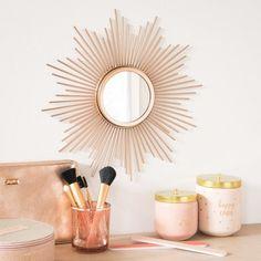 Plume Dorée Effet Miroir Mural Salle à Manger Chambre Couloir Vanité Cercle Rond