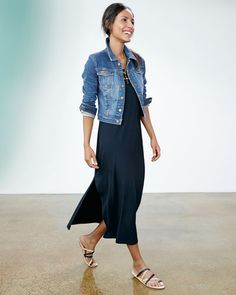 Eileen Fisher cropped denim jacket, maxi dress
