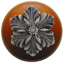 Notting Hill – Opulent Flower Wood Knob in Satin Nickel/Cherry wood finish 1