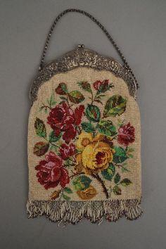 Antike PERLSTICKTASCHE mit Fassung aus SILBER 800 und Puttendekor ~ 1900 | eBay