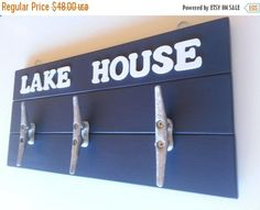 Wall Rack Boat Decor Boat Cleat Rack Lake House Decor Nautical Decor Boat Cleats Nautical Wall Sign Coat Rack Personalized Sign Wooden Sign
