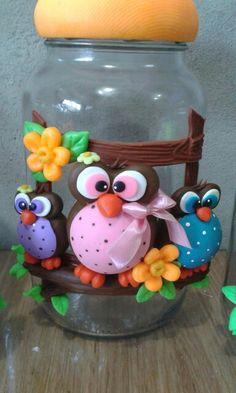 <3<3<3<3 Polymer Clay Dolls, Polymer Clay Crafts, Diy Clay, Hobbies And Crafts, Diy And Crafts, Decoupage Jars, Clay Jar, Decorated Jars, Cold Porcelain