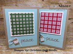Stampin' Up! Christmas Quilt Bundle with Quilted Christmas Created by Kay Kalthoff with Christmas Hearts, Christmas Paper, Diy Craft Projects, Diy Crafts, Merry And Bright, Party Favors, Stampin Up, Paper Crafts, Quilts