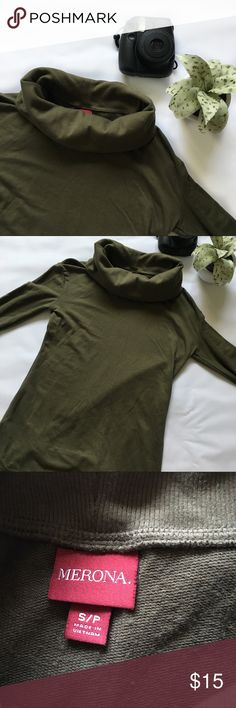 Merona Green Petite Turtleneck Merona Turtleneck Condition:  Pre-Owned But In Excellent Condition  Color: Green  Type: 58% Cotton 37% Modal 5% Spandex  Size: Woman's Small  Brand: Merona Merona Tops Tees - Long Sleeve
