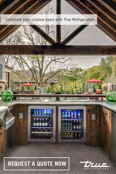 No home is complete without an outdoor kitchen that you& never want (or need) to leave. Request your quote now. Backyard Bar, Backyard Patio Designs, Backyard Projects, Backyard Landscaping, Patio Ideas, Outdoor Kitchen Patio, Outdoor Kitchen Design, Outdoor Rooms, Outdoor Living