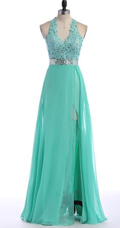 V-Neck Green Lace Chiffon Prom Dress,Evening Dresses