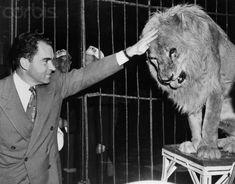 Nixon petting a lion.