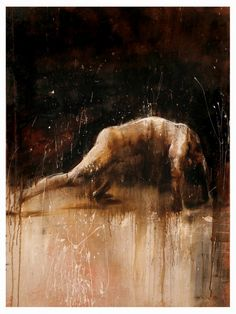 """""""Toile 8"""" - Christophe Hohler {figurative #expressionist art discreet nude male man painting grunge drips}"""