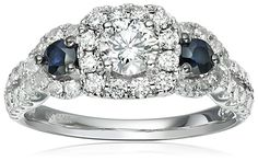 14k White Gold Diamond and Sapphire Side Engagement Ring (1cttw, H-I Color, I1-I2 Clarity), Size 7