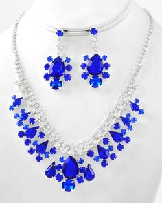 Silver Tone / Capri Blue Acrylic & Clear Rhinestone / Lead Compliant / Graduating / Necklace & Post Earring Set