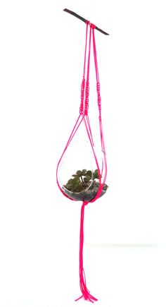 neon pink macrame plant hanger with glass by MyVeryOwnEyeGoggles, $69.00