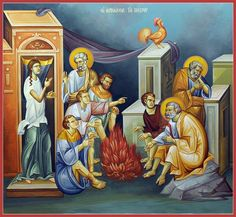 Great and Holy Thursday - The three denials of St. Prince of Apostles and Prince of Penitents, pray for us! Religious Images, Religious Icons, Religious Art, Byzantine Icons, Byzantine Art, Pictures To Draw, Art Pictures, Church Icon, Paint Icon