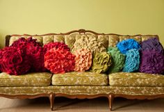 Oooooh <3 Custom color ruffle rose pillow LARGE - as seen on Daily Candy