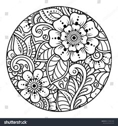 Outline round flower pattern in mehndi style for coloring book page. Antistress for adults and children. Doodle ornament in black and white. Pattern Coloring Pages, Coloring Book Pages, Printable Coloring Pages, Flower Art Drawing, Mandala Drawing, Mehndi Drawing, Estilo Mehndi, Mehndi Style, Sgraffito
