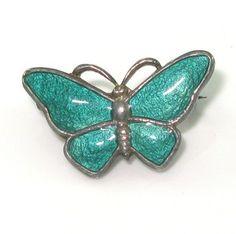 Vintage Sterling Silver Denmark VB Volmer Bahner Green  Butterfly Pin/Brooch