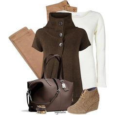 A fashion look from February 2015 featuring brown cardigan, boat neck sweater and april 77 jeans. Browse and shop related looks.