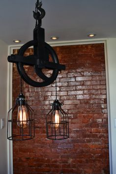Hey, I found this really awesome Etsy listing at http://www.etsy.com/listing/150711443/re-purposed-barn-pulley-industrial-light
