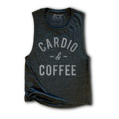 Cardio and Coffee Womens Work Out Tank Yoga Top Running Tank Coffee... ($25) ❤ liked on Polyvore featuring dark olive, tanks, tops, women's clothing, yoga tank, coffee shirt, army green shirt, black shirt and olive green shirt