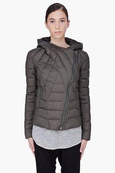 Helmut Dark Olive Hooded Puffer Jacket for women | SSENSE