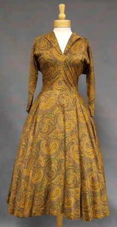 Paisley print cotton dress, by Claire McCardell, American, 1950s.