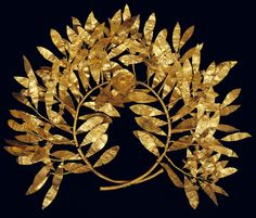 A gold myrtle wreath with a multi-petalled flower at its centre, fourth to third century BC. Photo: Benaki Museum, Athens