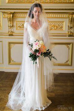 Saja #wedding #gown with veil by Mignonne Handmade | Photography: Corina V. Photography | WedLuxe Magazine #luxurywedding