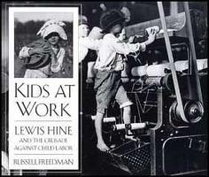 Photographs of children working in factories.