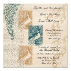 Elegant Peacocks Wedding Invitation