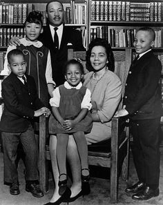 """This 1966 photo is the last official portrait taken of the entire King family, made in the study of Ebenezer Baptist Church in Atlanta. From left are Dexter King, Yolanda King, Martin Luther King Jr., Bernice King, Coretta Scott King and Martin Luther King III. In 1963, Martin Luther King Jr. declared, """"I have a dream that my four little children will one day live in a nation where they will not be judged by the color of their skin but by the content of their character."""""""