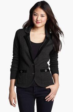 Halogen® Ribbon Trim Sweater Jacket (Regular & Petite) | Nordstrom