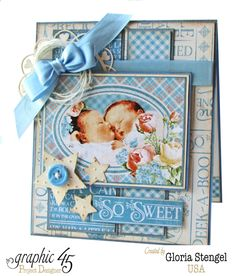 """So Sweet"" twins baby card by Gloria using Precious Memories #graphic45"