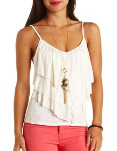 cfbcf58a88bc48 Triple Ruffle Tank Top  Charlotte Russe