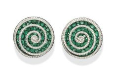 A PAIR OF SUPERB EMERALD AND DIAMOND SPIRAL EAR CLIPS, BY JAR  Each three-dimensional diamond spiral thread, overlying the concave pavé-set emerald disc, mounted in platinum, 18k rose gold and silver, made in 2002, 3.00 cm wide, in JAR pink leather case