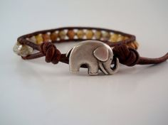 Lucky Elephant Beaded Leather Wrap Bracelet Stackable by PZWDesign
