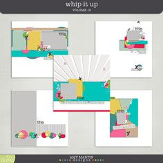 Layered Digital Scrapbook Templates: Whip It Up v19 by Amy Martin Designs