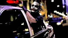 paintings The Joker artwork police cars Batman The Dark Knight  / 1366x768 Wallpaper