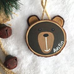 Personalised Woodlands Animal Wood Slice Art Childrens Etsy Happy New Year Christmas Wood, Diy Christmas Ornaments, Diy Christmas Gifts, Christmas Time, Christmas Decorations, Beach Christmas, Wood Ornaments, Ornament Crafts, Holiday Crafts