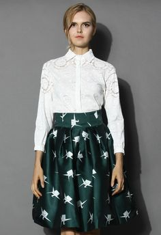 Petite White Shirt with Sheer Floral Pattern