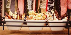 Chocolate covered pretzels and popcorn: Mickey's Spooktacular But Not So Spooky Halloween Party by Party Stylist Patty Smith/Sweet Treat Stands www.facebook.com/sweettreatstands