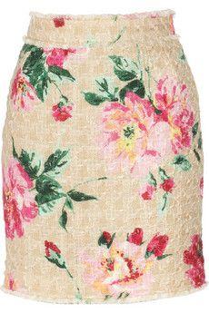 Dolce & Gabbana  Peony-print woven cotton-blend mini skirt  £390