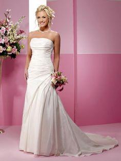 A-Line Straight Neckline Strapless with Ruffles Lace up Taffeta Wedding Dress