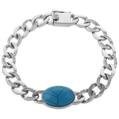 Define Jewellery Turquoise Stone Silver American Diamond bracelet for Men (DFBCG0010)