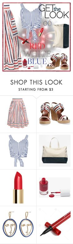 """Stripes"" by pamphil ❤ liked on Polyvore featuring Tory Burch, WithChic, Everlane, rms beauty and MANGO"