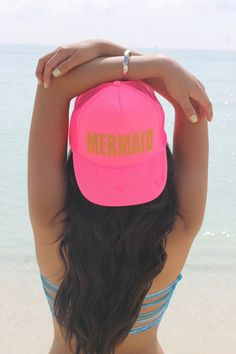 MERMAID Trucker Hat - PINK/GOLD – Free Your Heart Apparel