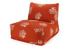 One Kings Lane - Outdoor Furniture Picks - Coral Outdoor Beanbag Chair, Orange